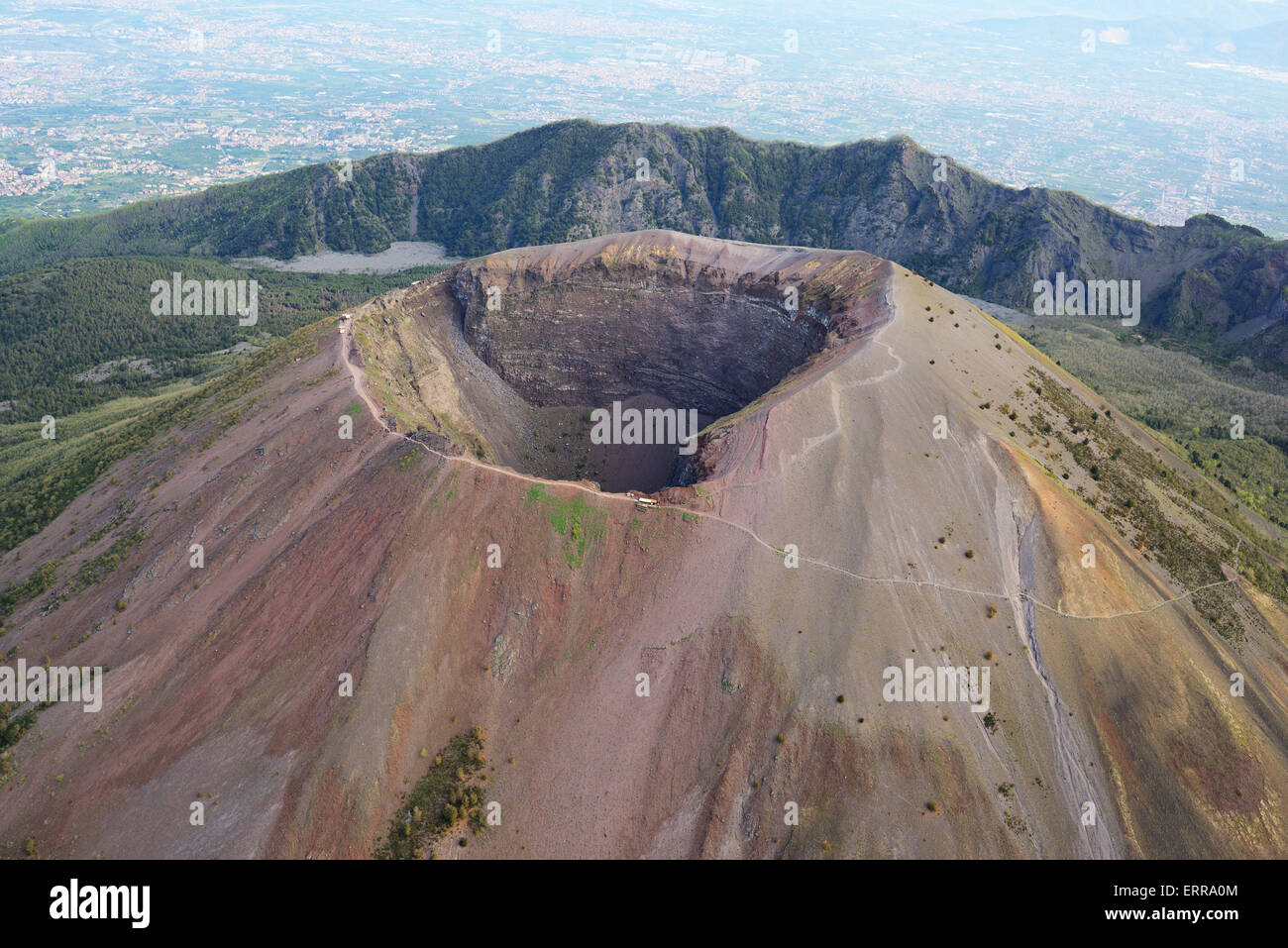 CRATER OF MOUNT VESUVIUS (aerial view). 1281-meter-high volcano between Naples and Pompeii, Campania, Italy. - Stock Image