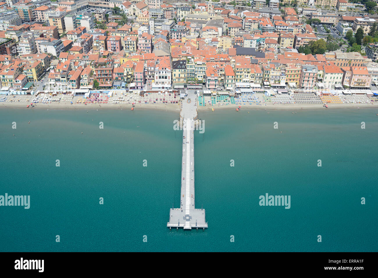 SEASIDE RESORT OF ALASSIO (aerial view). Liguria, Italy. - Stock Image