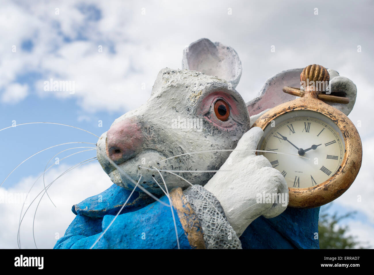 White Rabbit statue at an Alice in Wonderland event at RHS Wisley Gardens, Surrey, England - Stock Image