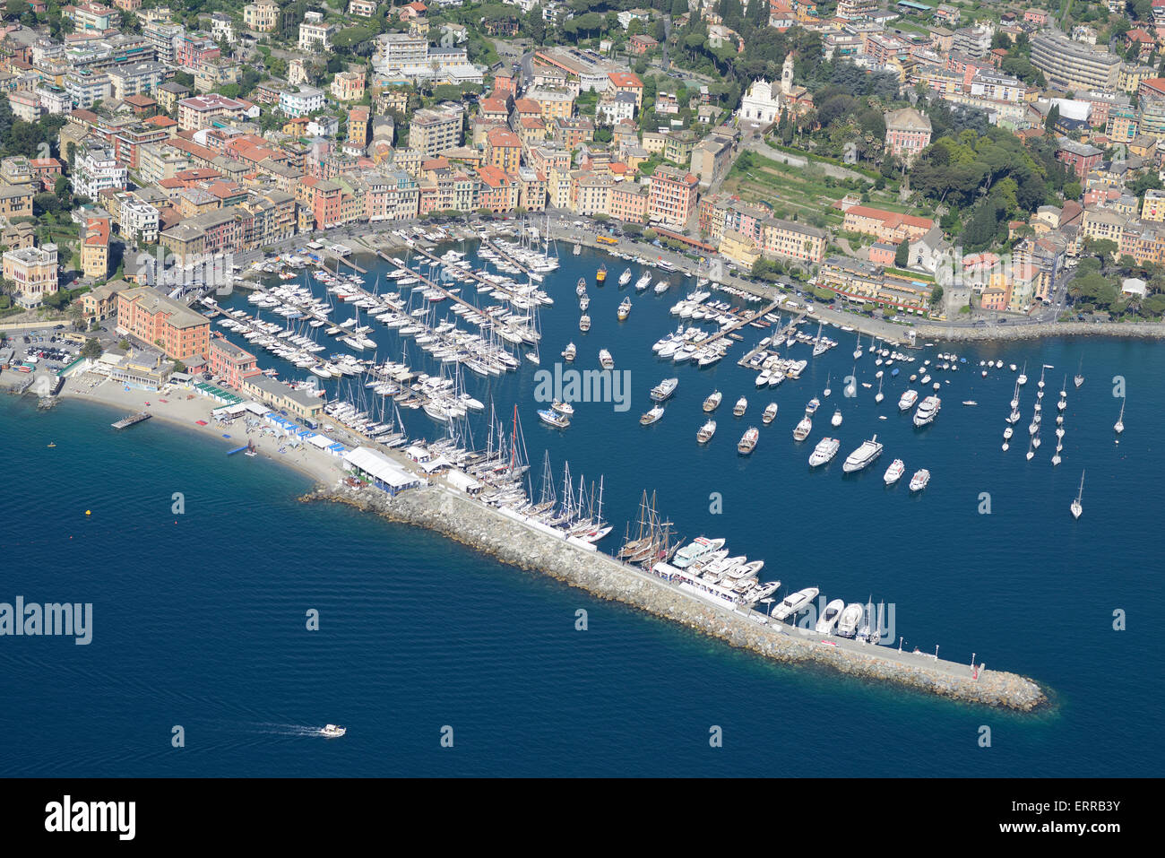 MARINA OF SANTA MARGHERITA LIGURE (aerial view). Province of Genoa, Liguria, Italy. - Stock Image