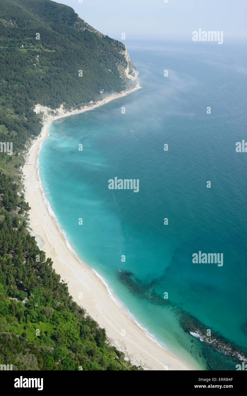 BLUE BAY ON THE ADRIATIC SHORES (aerial view). Sirolo, Marche, Italy. - Stock Image
