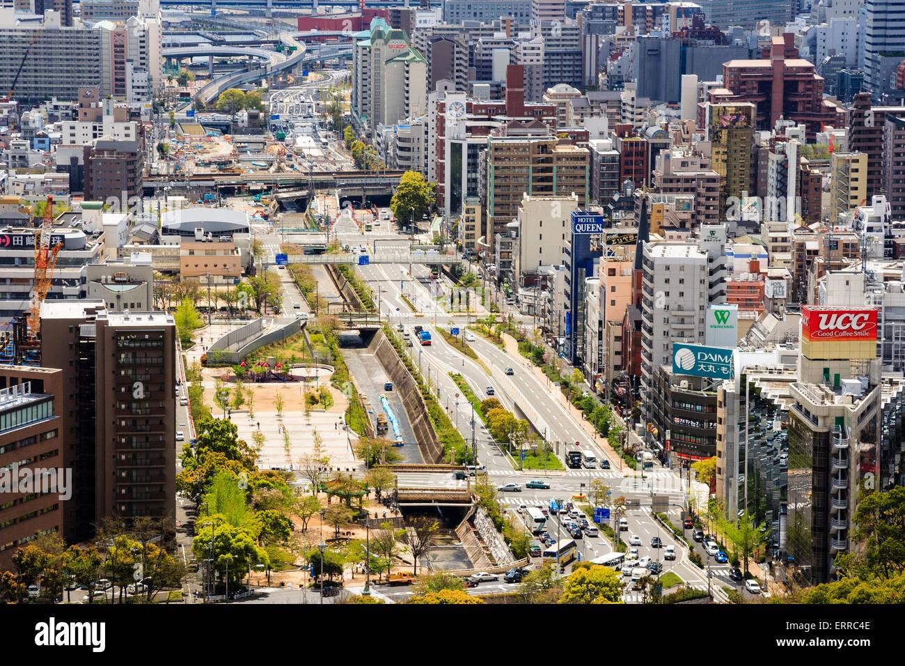Japan, Kobe, Sannomiya  Aerial view from above Shin Kobe