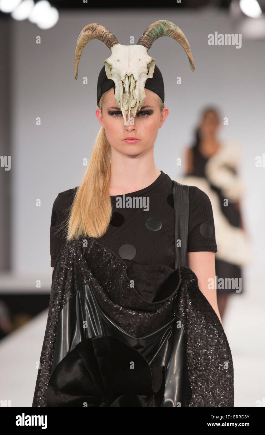 31/05/2015. London, UK. Collection by Alexandra Wall. Fashion show of UCA Epsom at Graduate Fashion Week 2015. Graduate - Stock Image
