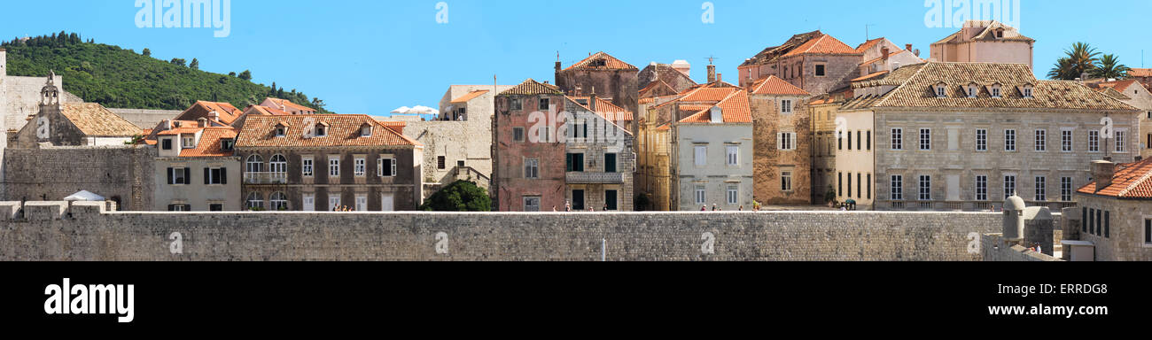 The old wall city of Dubrovnik in croatia on the Ariatic coastline, landscape graphical view from the harbor Stock Photo