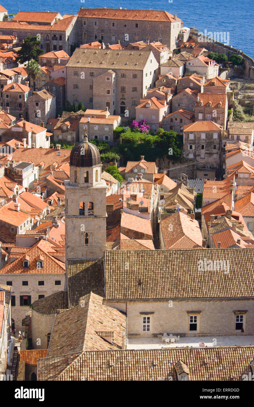 Looking down on the old wall city of Dubrovnik in croatia on the Adriatic coastline. Stock Photo