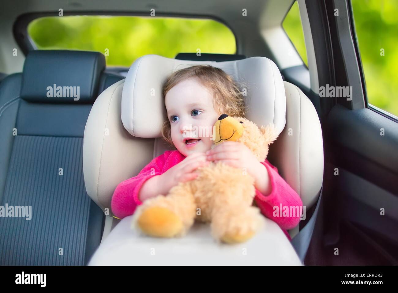 Cute curly laughing and talking toddler girl playing with a toy bear enjoying a family vacation car ride in modern - Stock Image