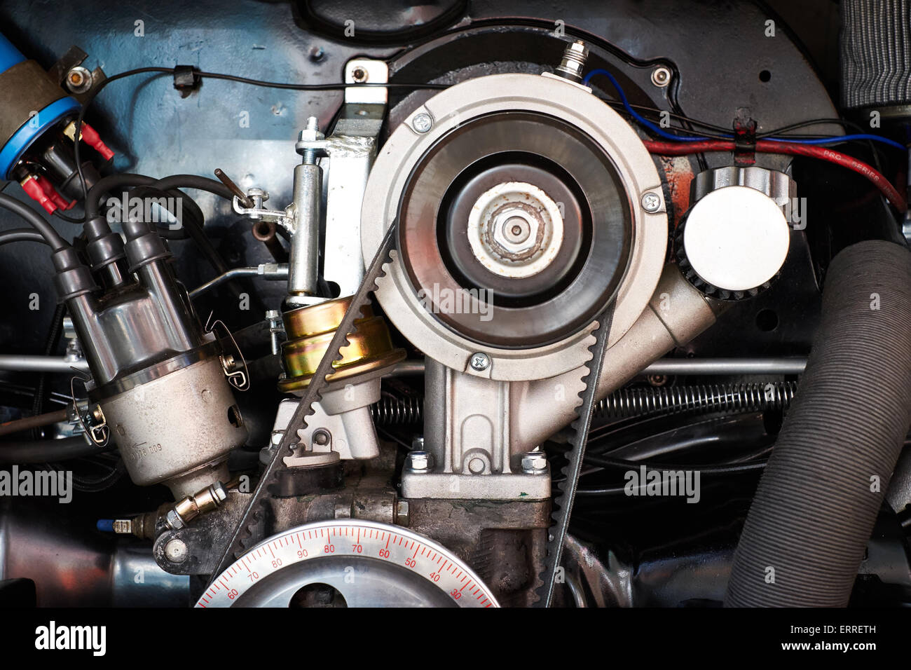 Abstract of an air cooled VW camper engine at the Skipton Car Show 2015 - Stock Image