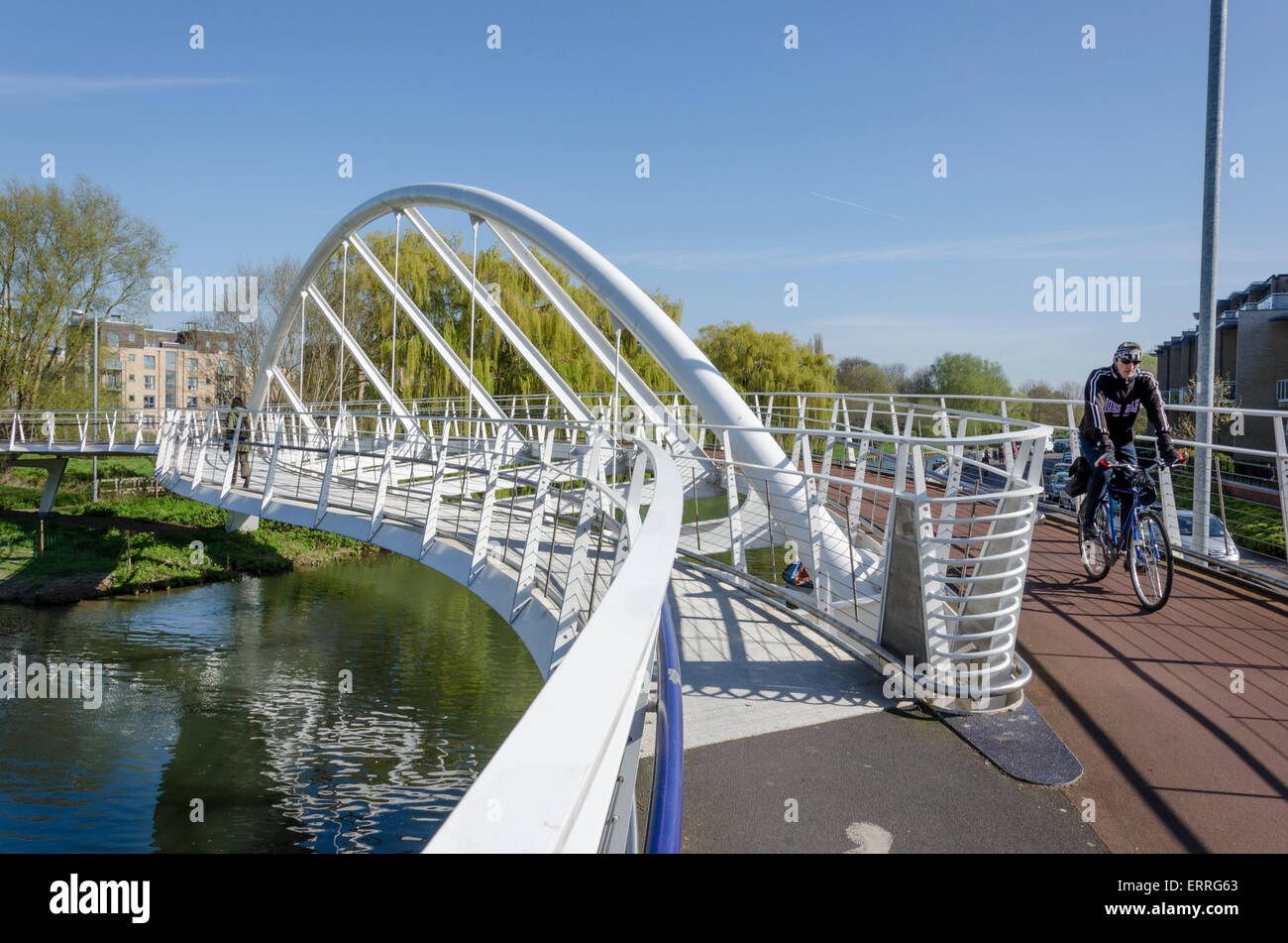Riverside Bridge. Foot and cycle bridge opened 2008 costing £3.1m funded in part by Tesco - Stock Image
