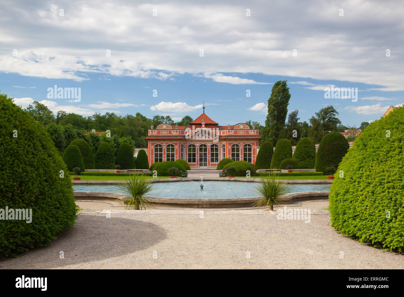 Beautiful garden near the Cernin palace in Prague, Ministry of Foreign affairs Stock Photo