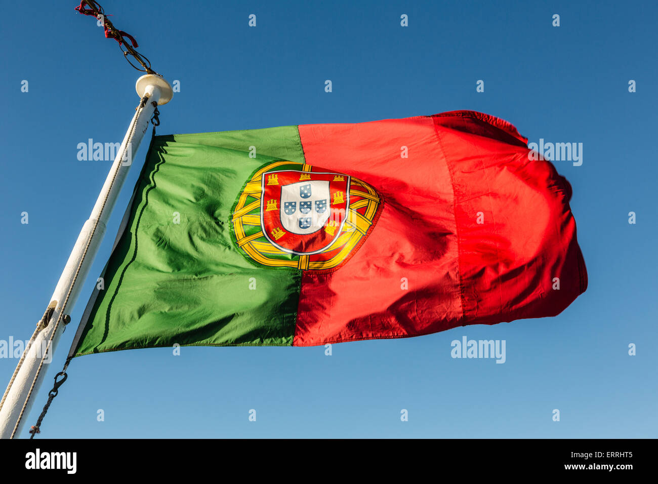 Portuguese Flag flying on ship MV Azores - Stock Image