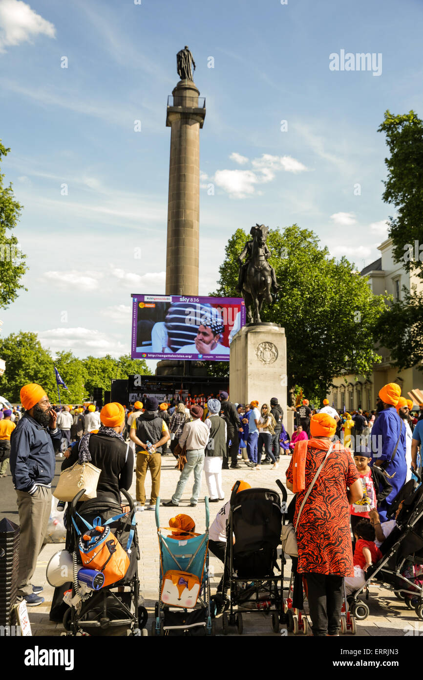 London, UK. 07th June, 2015. Sikh freedom march and rally in central London, June 7 2015 Credit:  carol moir/Alamy - Stock Image
