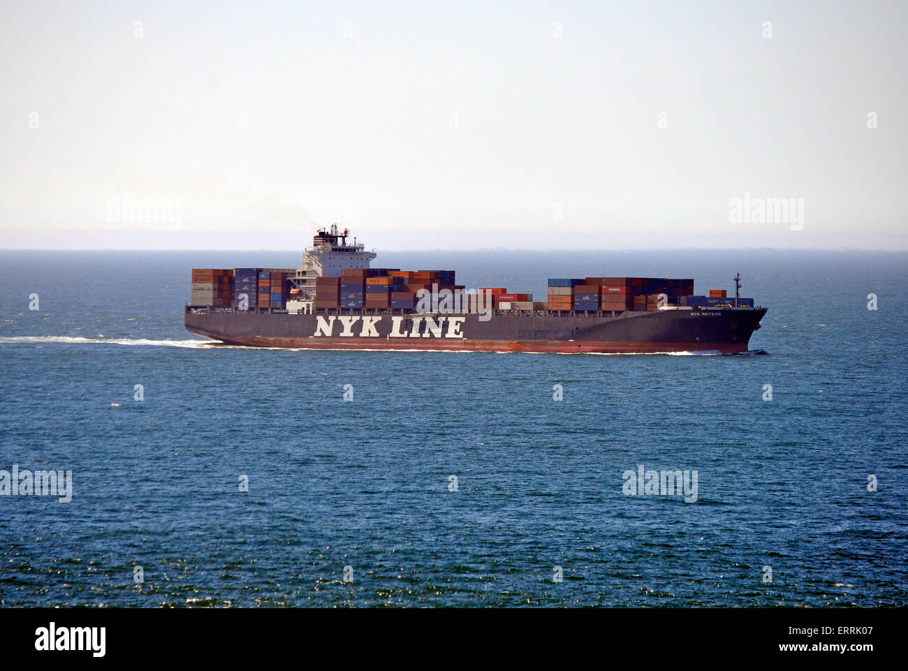 Container ship sails towards San Francisco Bay - Stock Image