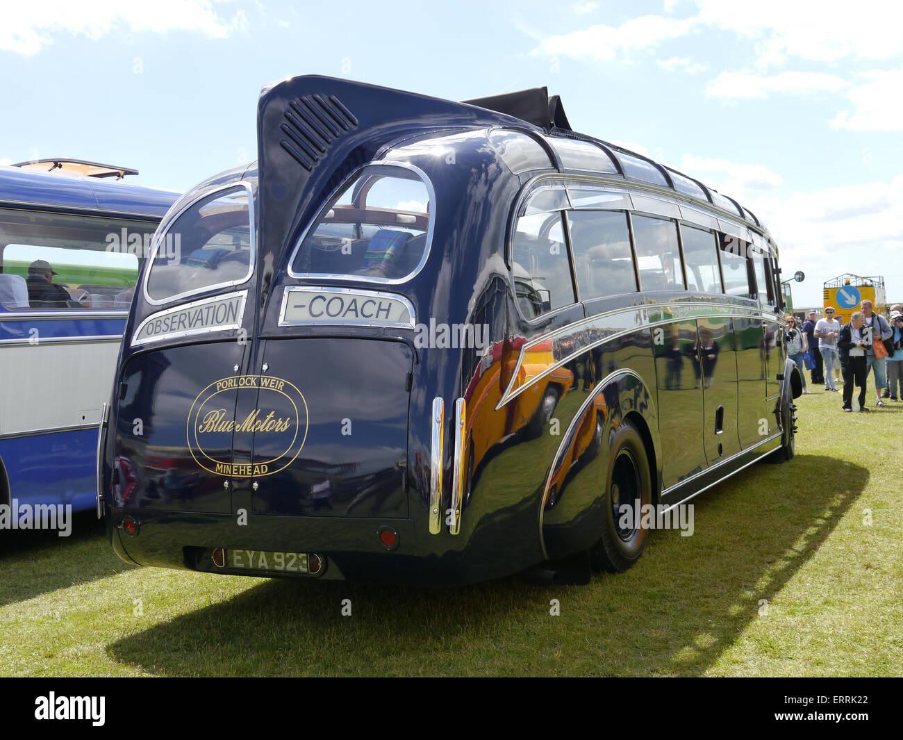 The rear of a preserved ex Blue Motors 1939 Leyland Cheetah with Harrington C31F coachwork registration EYA 923 - Stock Image