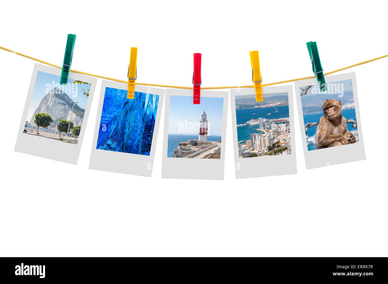 Five photos of Gibraltar on clothesline isolated on white background with clipping path - Stock Image