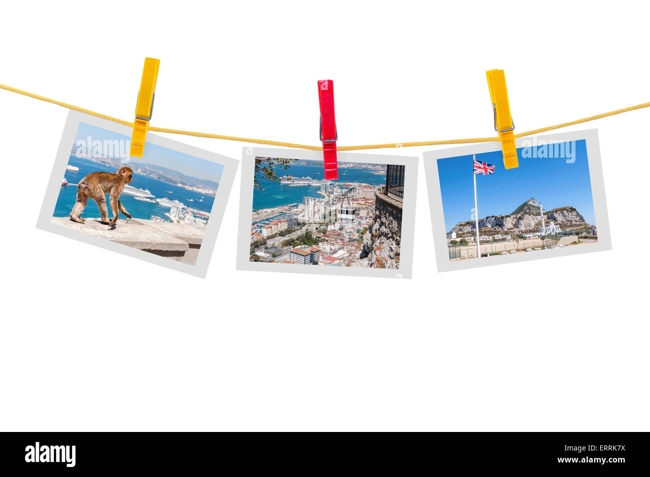 Three photos of Gibraltar on clothesline isolated on white background with clipping path - Stock Image