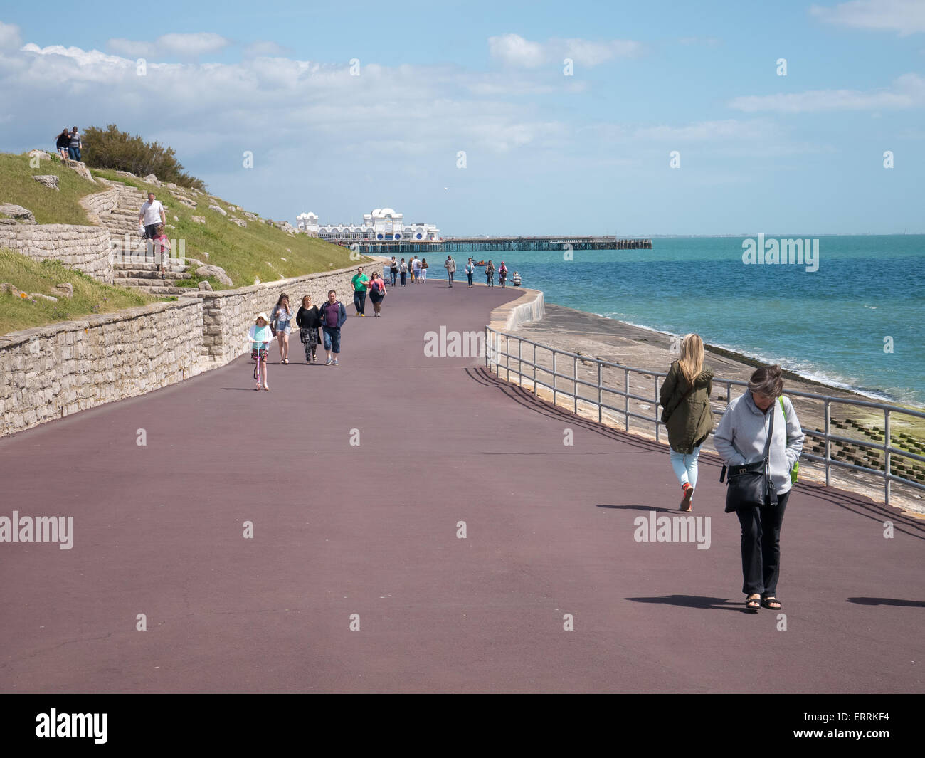 People taking a walk along Southsea seafront, Portsmouth, Hampshire, England Stock Photo