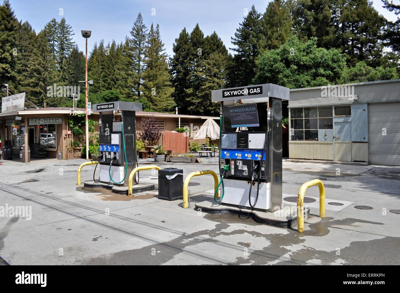 Gas pumps, Skywood Trading Post, Woodside, California - Stock Image