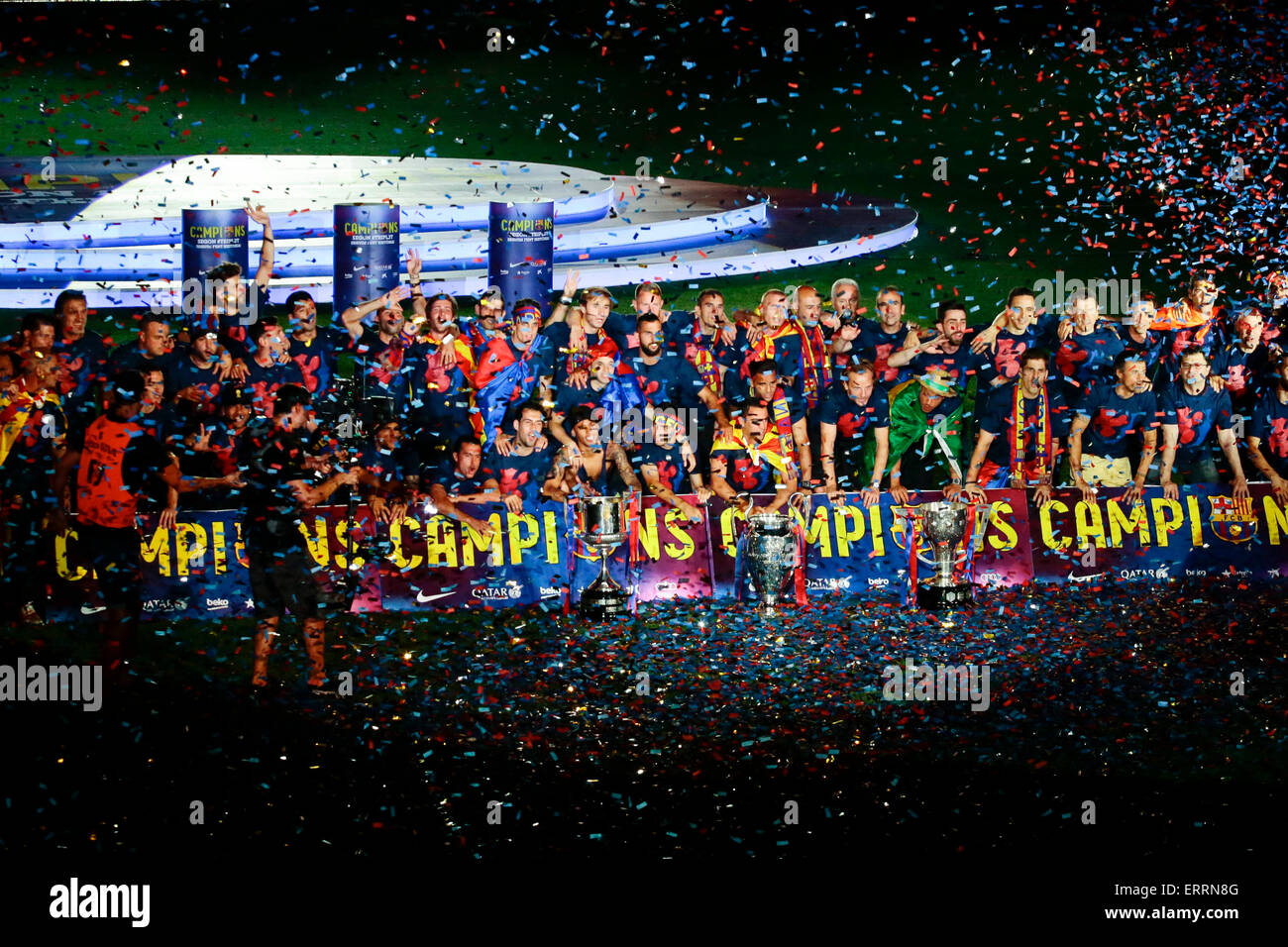Barcelona, Spain. 7th June, 2015. FC Barcelona's players react in the celebration at the Camp Nou stadium in - Stock Image