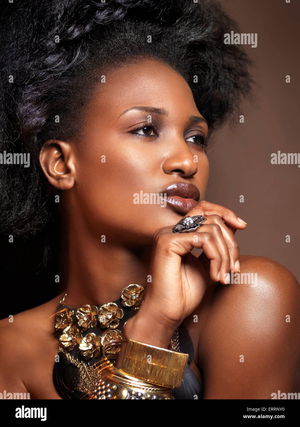 Beautiful young african american woman with big hair wearing jewelry, artistic beauty portrait on brown background - Stock Image