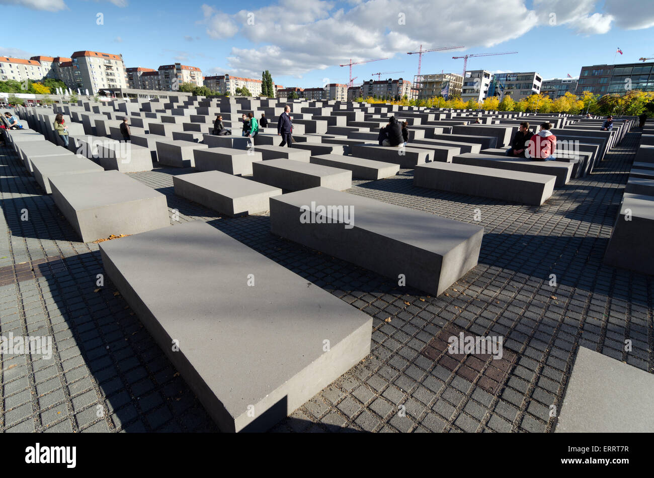 BERLIN, GERMANY - SEPTEMBER 29, 2013: The Memorial to the Murdered Jews of Europe also known as the holocaust memorial. - Stock Image