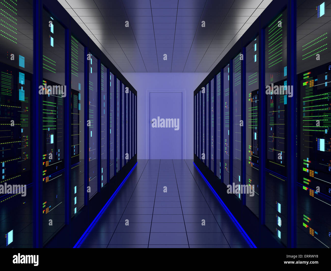 symmetrical server room (colocation) or colo with server cabinets on two sides - Stock Image