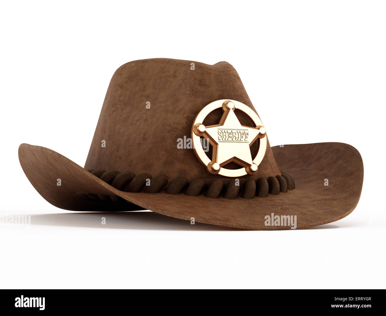 35ae9962 Cowboy hat with sheriff badge isolated on white background Stock ...