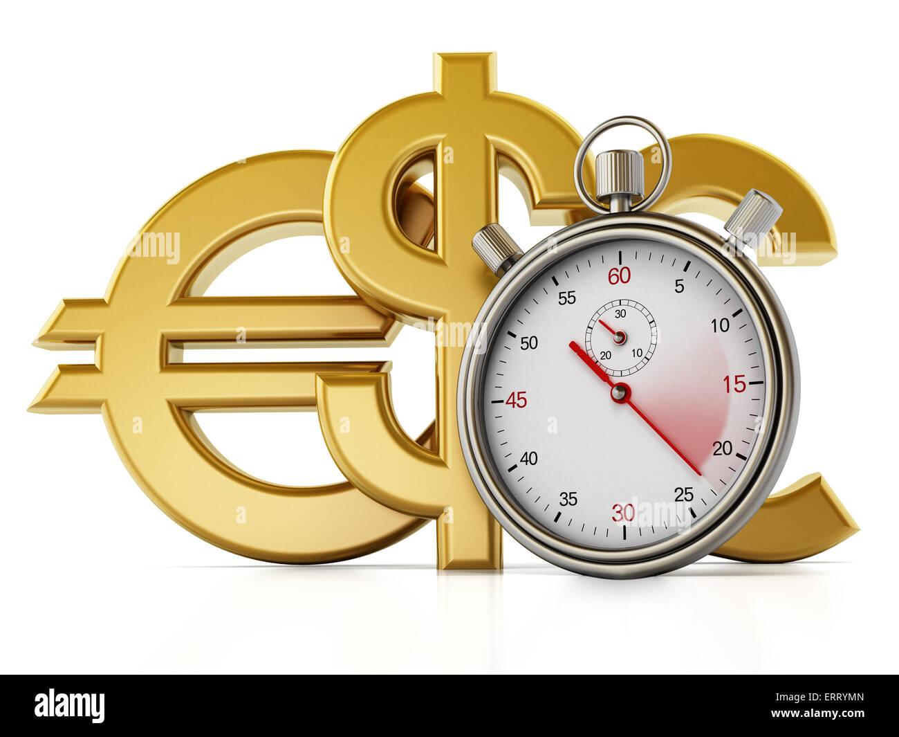 Analogue chronometer, dollar,euro and pound symbols isolated on white background - Stock Image
