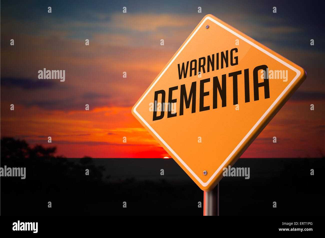 Dementia on Warning Road Sign. - Stock Image