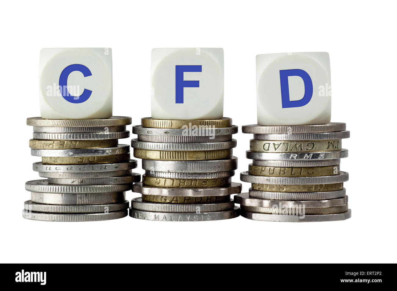 Stacks of coins with the letters CFD isolated on white background - Stock Image