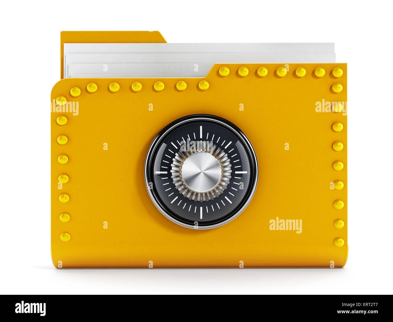 Data safety concept with folder and lock - Stock Image