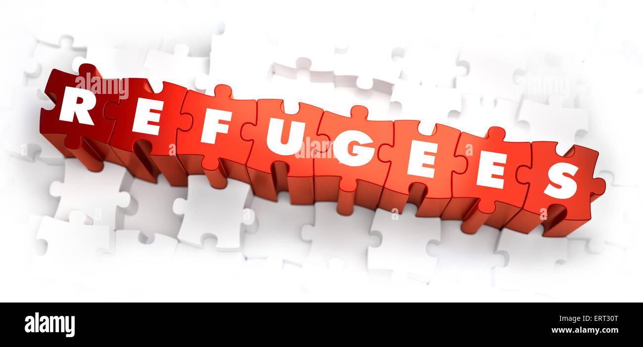 Refugees - White Word on Red Puzzles. - Stock Image
