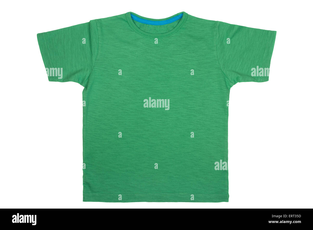 Green T- shirt isolated on white background - Stock Image