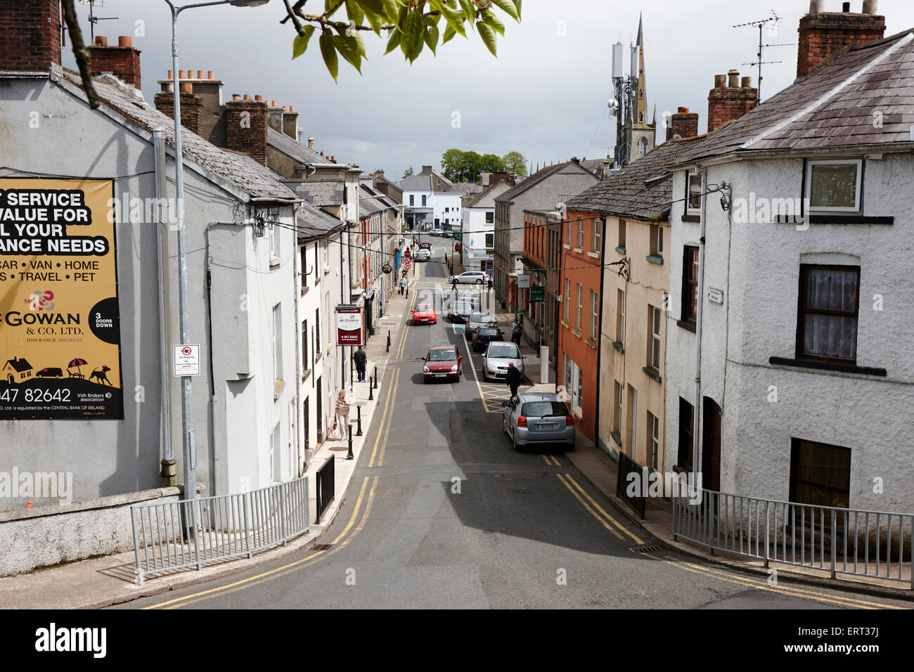 looking down mill street monaghan town county monaghan republic of ireland - Stock Image