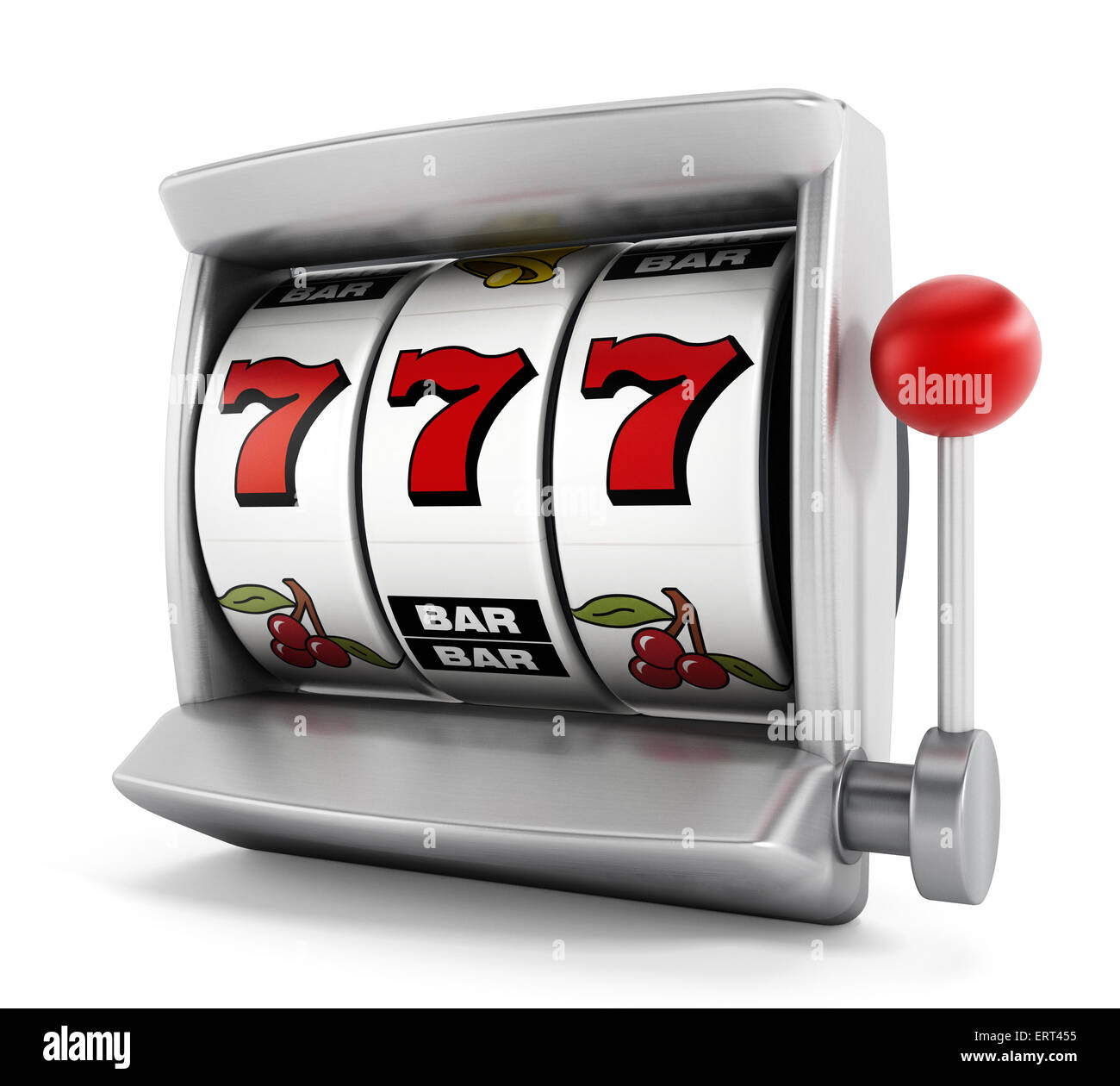 Slot machine with three seven's isolated on white background - Stock Image