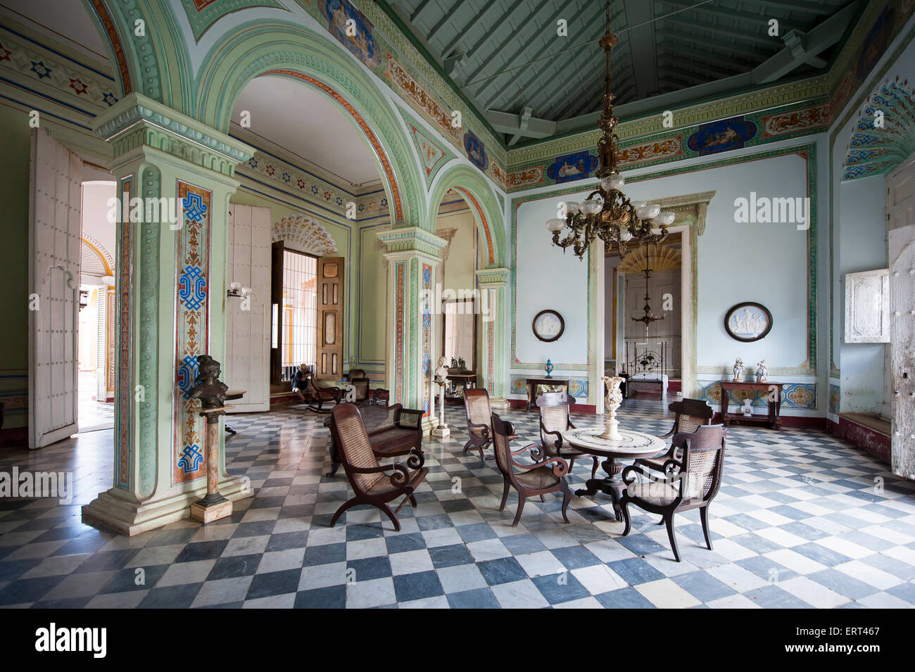 TRINIDAD, CUBA - MAY 31, 2011: Preserved colonial interior of the Museum of History (Museo Historico) with antique - Stock Image