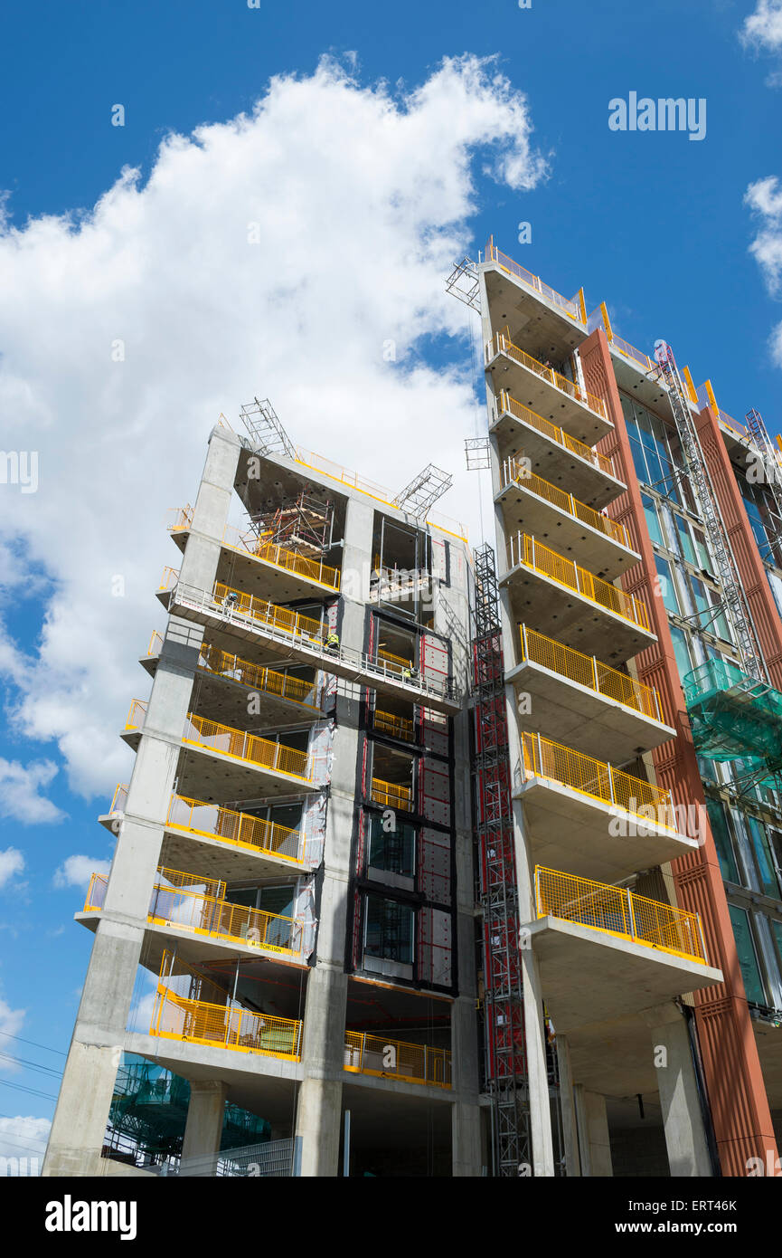 LONDON, UK - JUNE 06, 2015: Modern hi-rise towers under construction in the vicinity of King's Cross at Regent's - Stock Image