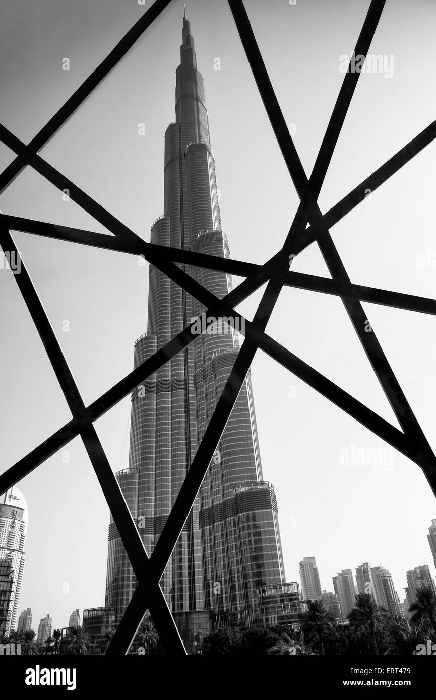 Dubai uae october 22 2014 the modern steel burj khalifa tower with design patterned after traditional islamic architecture
