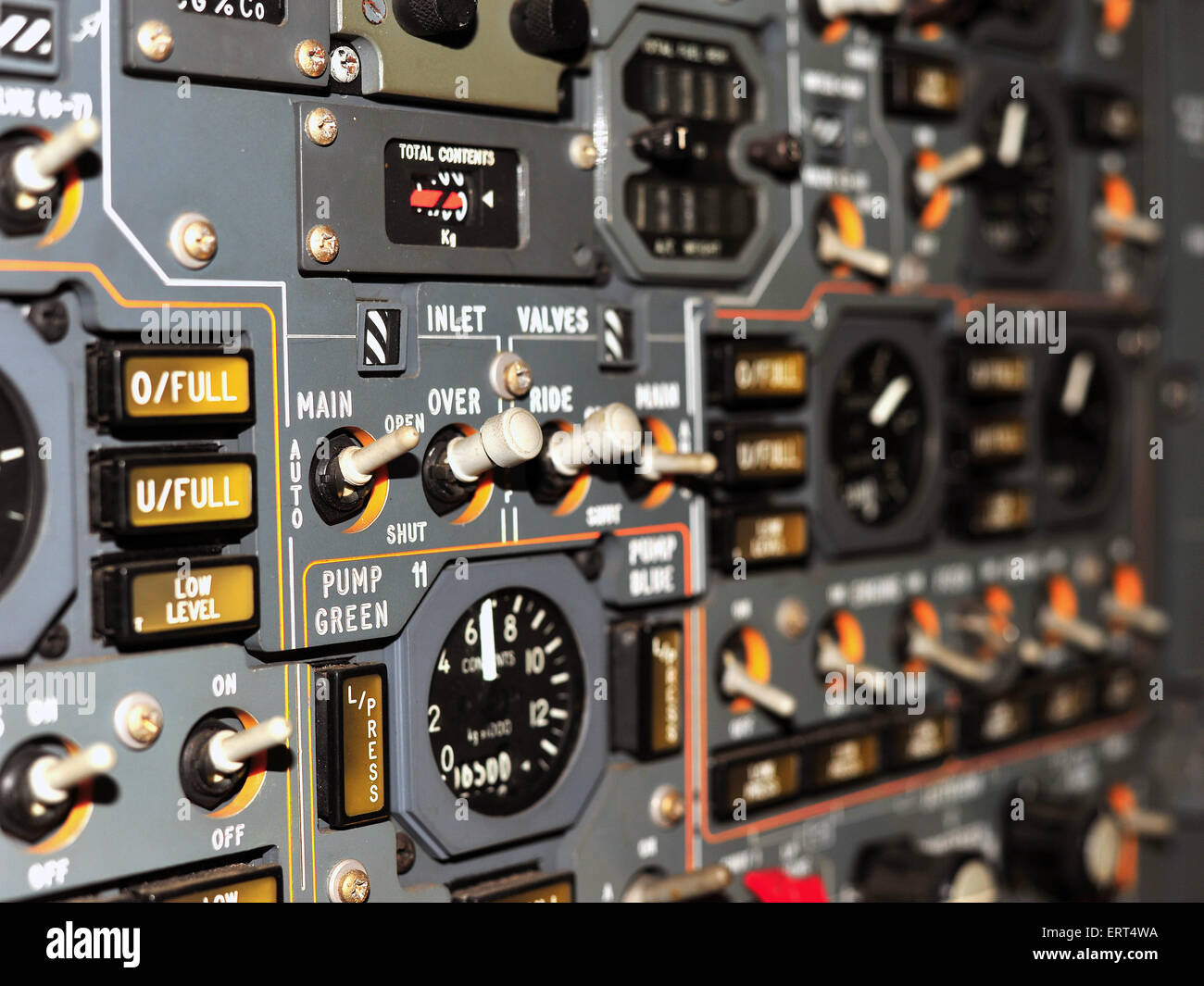 The inside of a the prototype Concord cockpit which is stored in the M-Shed museum in Bristol. - Stock Image