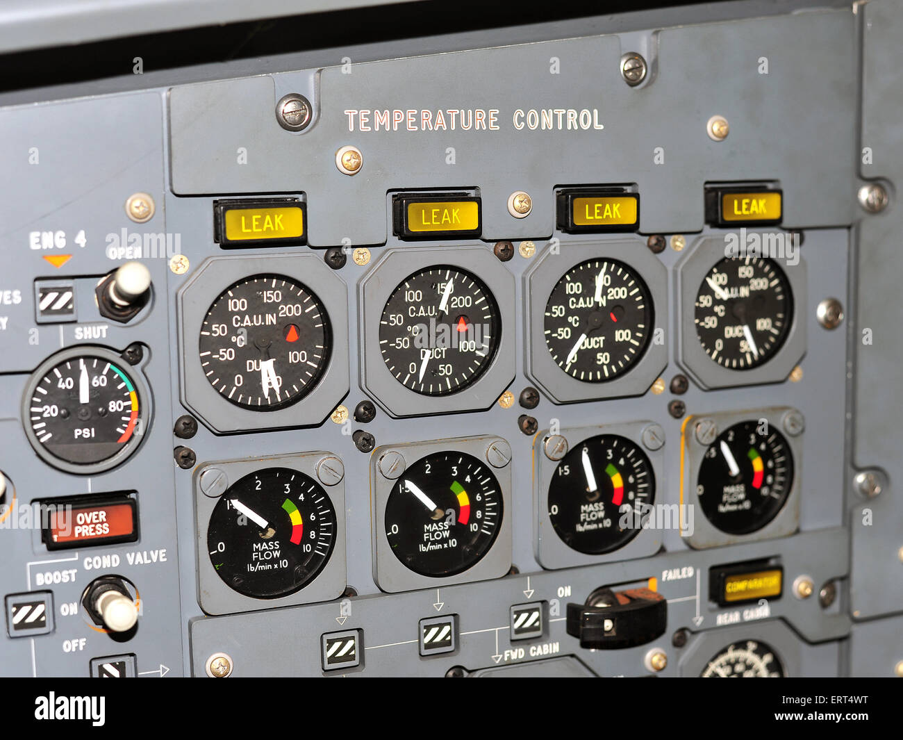 Instruments, dials and buttons inside the prototype cockpit created during the design phase of the Concorde jet. - Stock Image