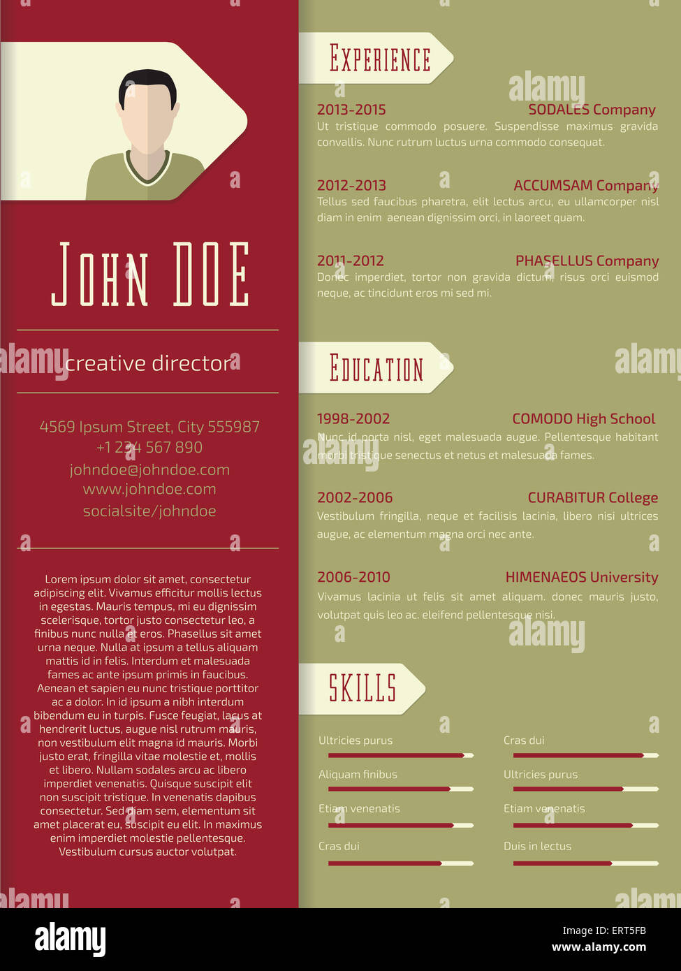 modern curriculum vitae cv resume template design stock photo