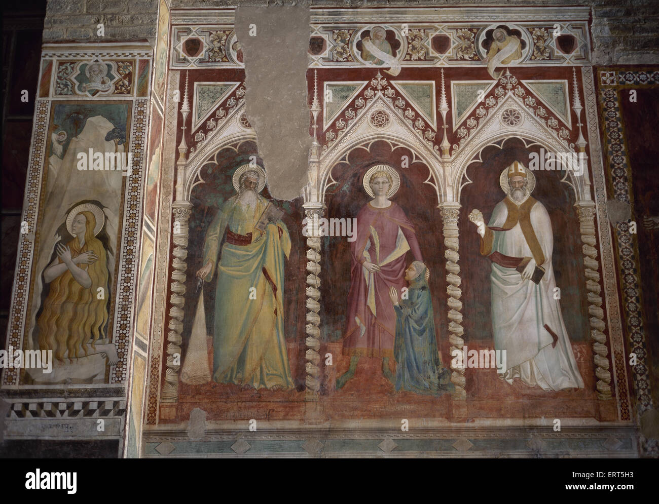 Italy. Florence. Theory of Saints by Spinello Aretino (ca. 1350-1410). Basilica of San Miniato al Monte. - Stock Image