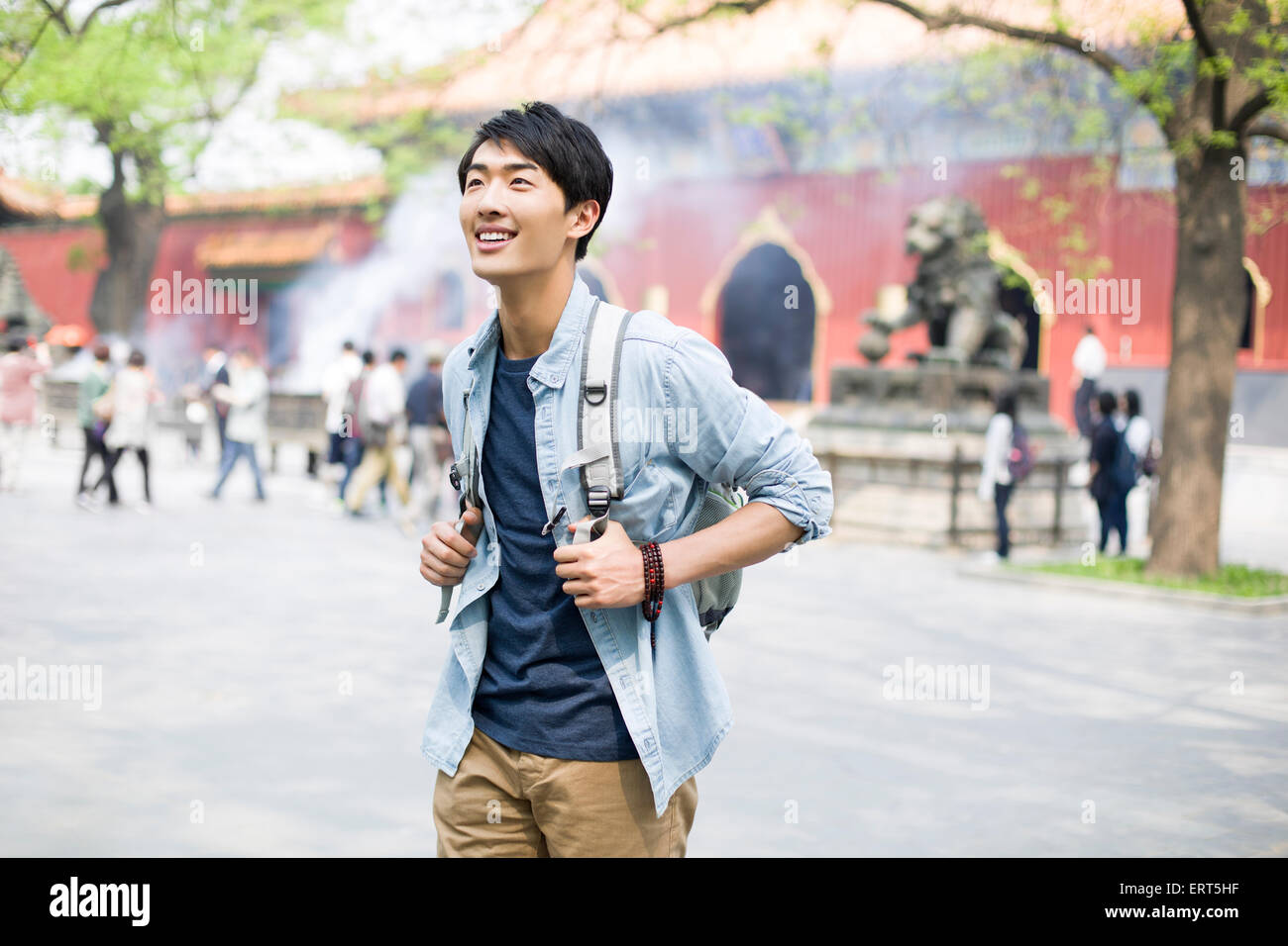 732446c558 Young man travelling at the Lama Temple Stock Photo  83509819 - Alamy