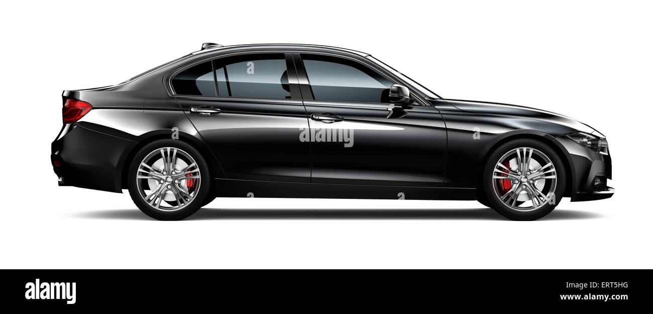 Black modern car - side view - Stock Image