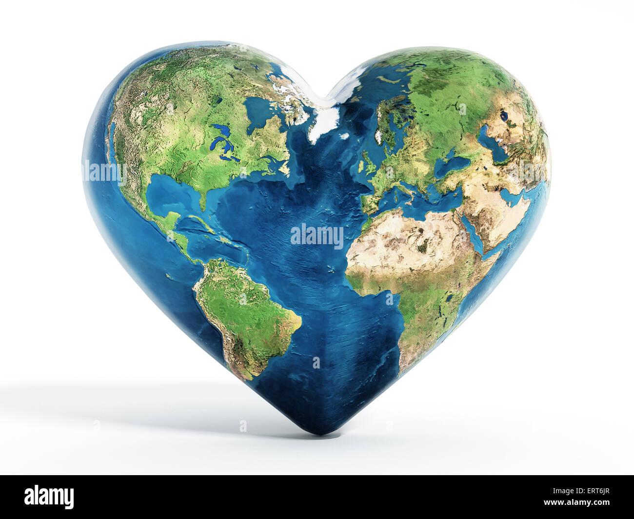 Heart shaped world map stock photos heart shaped world map stock heart shaped earth stock image gumiabroncs Gallery