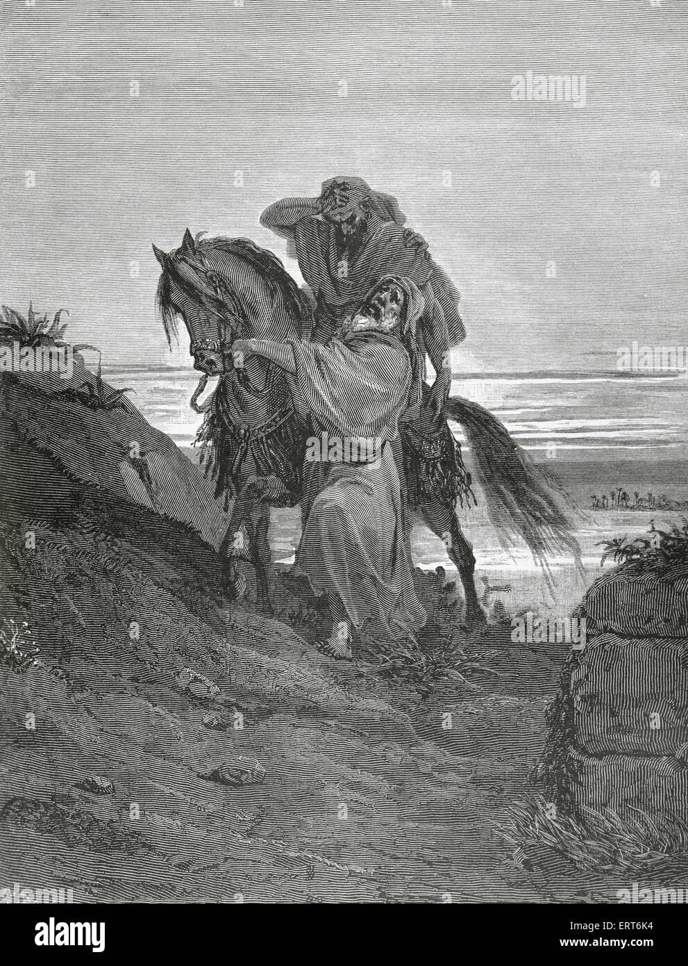 Parable of the Good Samaritan. Gospel of Luke. Engraving by Gustave Dore. 19th century. - Stock Image