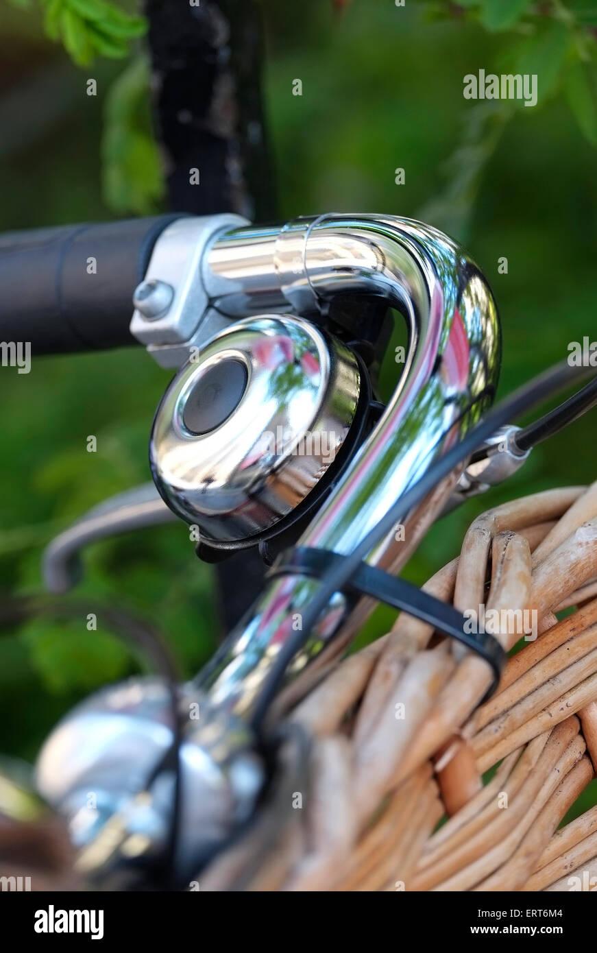 chromium bell on cycle handlebars, cambridge, england - Stock Image