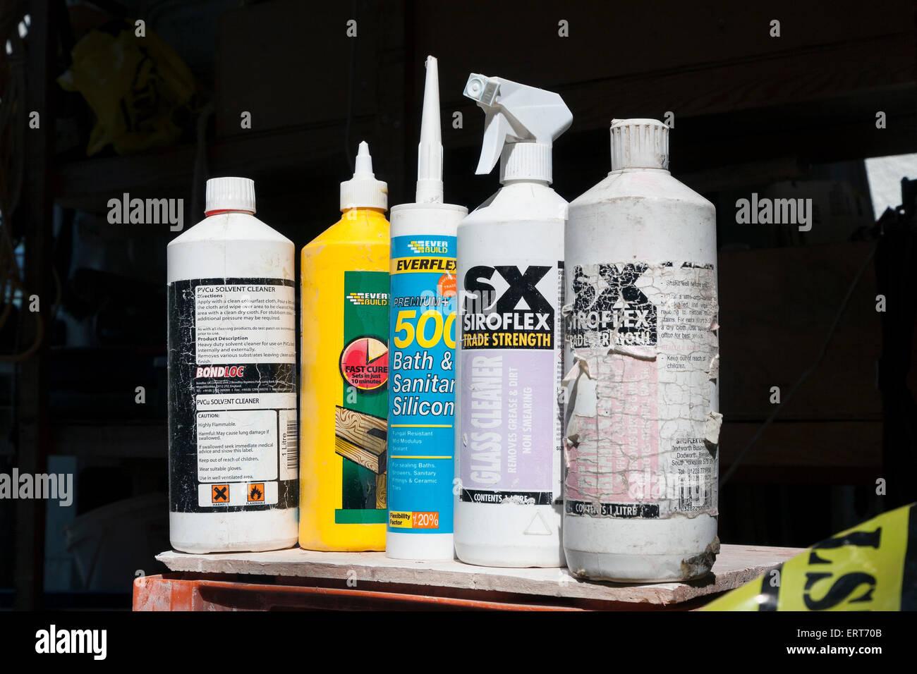 carpenters van,bath silicone, - Stock Image