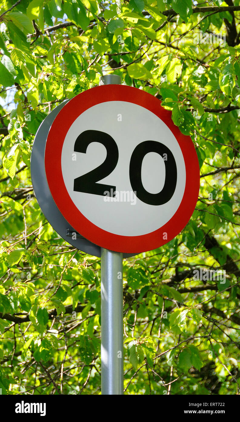 20mph speed limit area - Stock Image