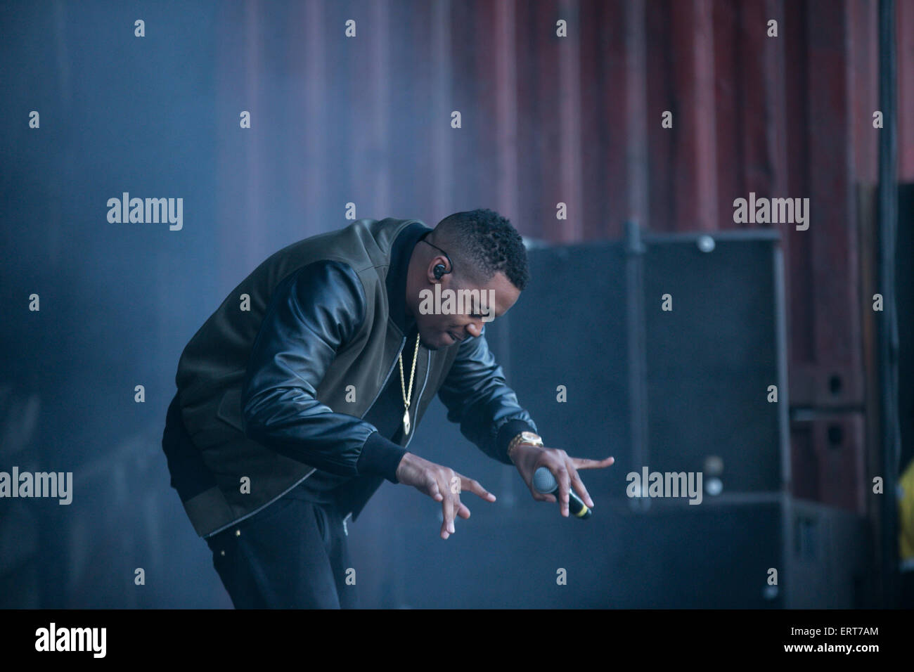 Manchester, UK. 6th June, 2015. rapper and producer Nas performing live on stage  at The Parklife two day festival Stock Photo