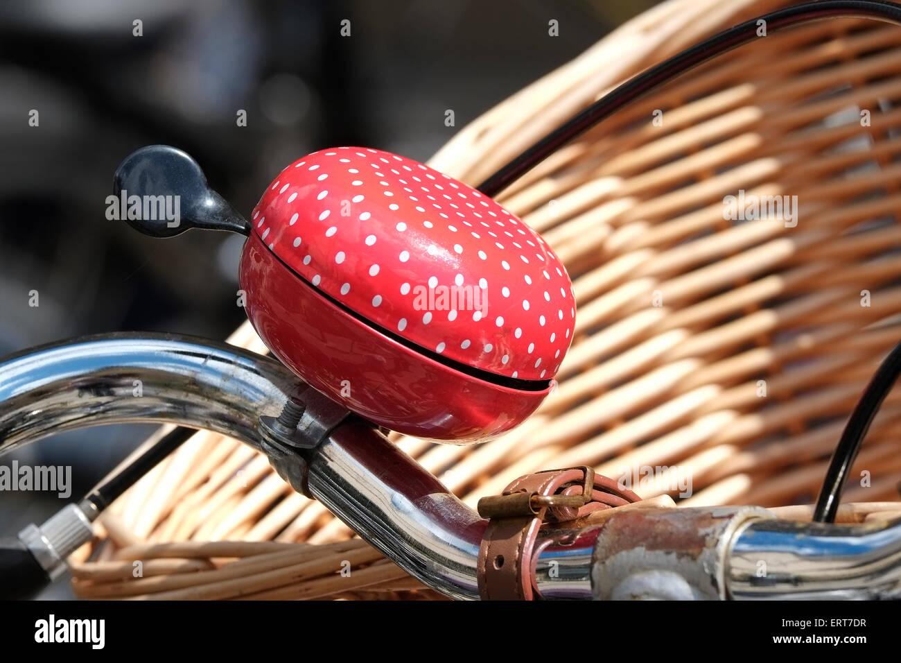 red bell on cycle handlebars, cambridge, england - Stock Image